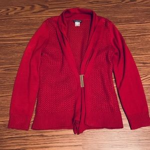 EUC Venus cardigan with gold buckle in red. Size M